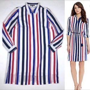 Antonio Melani Shirt Dress Tunic Striped Blue Red